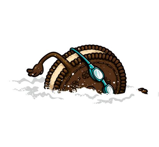《在牛奶里游泳的奥利奥》文化衫图案设计